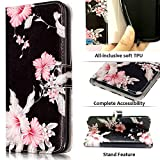 JanCalm Compatible with LG Stylo 4 Case,LG Stylo 4 Phone case,LG Stylo 4 Plus Case, Wallet Floral Pattern PU Leather Credit Card Holders Kickstand Flip Cover for Women Girls (Black/Flower)