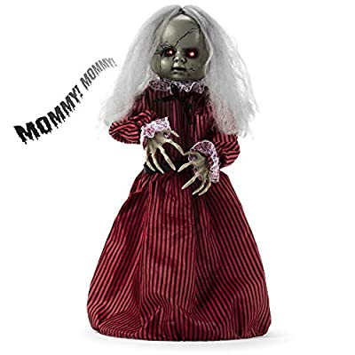Best Choice Products Haunted Holly Animated Roaming Doll Halloween Prop w/Light-Up Eyes, Sounds, Phrases, Motion