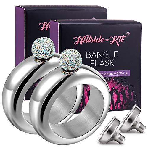 Hillside-Kit Flask Bangle Bracelet- AB Crystal Lid Creative 304 Stainless Steel Wine Alcohol Liquor Flask bracelet for Women Girls Party Hidden Flask Set 3.5OZ -2PCS