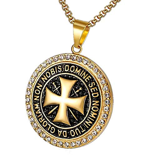 BOBIJOO JEWELRY - Anhänger Halskette-Templer Stahl Vergoldet Zirkonia Goldenes Kreuz, Nicht Nobis + Kette