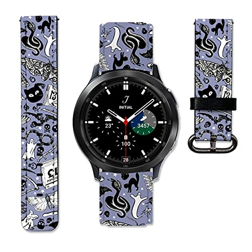 Witch Halloween Leather Strap compatible with Samsung Galaxy Watch4 Active 2 40mm 44mm Galaxy Watch4 Classic Active 2 42mm 46mm Galaxy Watch 3 Active 2 40mm 41mm 42mm 45mm 46mm Gear S3 S2 and other watches 20 and 22mm wristband straps leather bands 08 (22 mm)