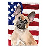 Caroline's Treasures BB9382GF Fawn French Bulldog Patriotic Flag Garden Size, Small, Multicolor