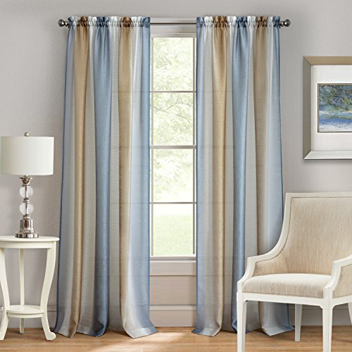 "Achim Home Furnishings Spectrum Rod Pocket Window Curtain Panel, 50"" x 84"", Silver/Gold"