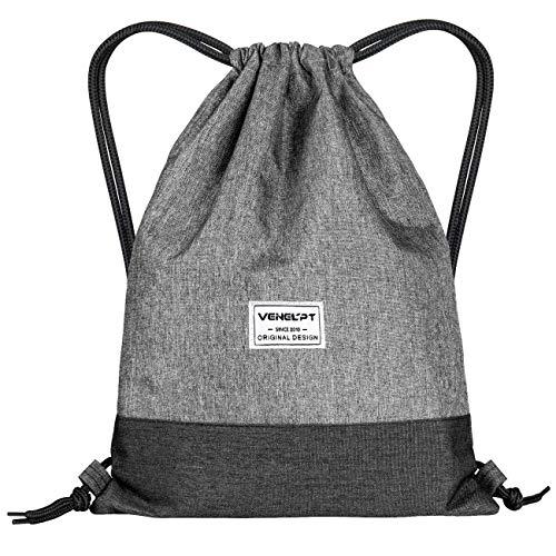 MDCEO Mochilas de Cuerdas Gris Unisex Casual Mochilas Cordón Impermeable Gimnasio Deporte Ligero Gym Bag, para Gimnasio Deporte Yoga