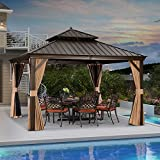 PURPLE LEAF 12' X 12' Outdoor Hardtop Gazebo Permanent Outside Heavy Duty Sun Shade Deck Canopy for Patio All Weather Aluminum Metal Roof Backyard Pavilion with Netting and Curtains