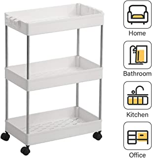 SPACEKEEPER 3-Tier Slide Out Storage Cart Rolling Utility Cart Storage Shelf Rack Mobile Storage Organizer Shelving for Office, Kitchen, Bedroom, Bathroom, Laundry Room & Dressers, White
