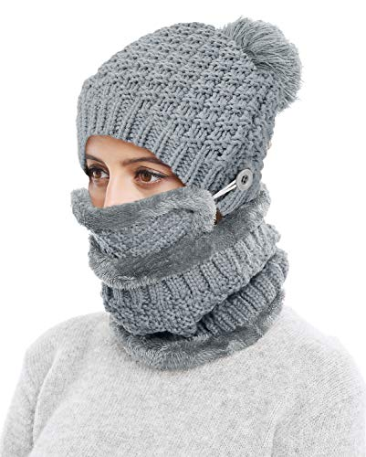 3-Pieces Winter Hat Scarf Mask Set Thick Knit Hat Warm Snow Ski Skull Cap for Men Women, Dark Gray
