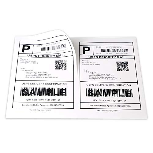 "[100 Sheets; 200 Labels] Half Sheet Self Adhesive Shipping Labels for Laser & Inkjet Printers, 5-1/2"" X 8-1/2"""