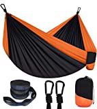 SANSUNTEK Hammock,Camping Hammock Double & Single Outdoor Portable Travel Hammock with Tree Straps and Carabiner, Lightweight Nylon Parachute Hammock for Outside Camping,Hiking,Backpacking,Patio,Beach