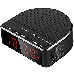 Digital Alarm Clock Radio with Bluetooth Speaker,Red Digit Display with 2 Dimmer,FM Radio, USB Port Bedside Led Alarm Clock (Black)