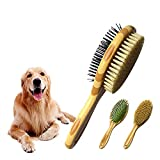LSLEE Double-sided Pet Comb Brush, Pet Comb Multi-function Wooden Handle Hair Removal Brush,Airbag Comb Pet Hair Cleaning Brush,Dogs Hair Clean Brush,Cat And Dog Grooming Comb
