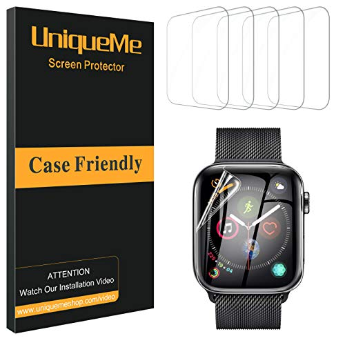UniqueMe [5 Pack] Protector de Pantalla para Apple Watch 42mm Series 1/2/3, [Sin Burbujas][Fácil instalación] Instalación Fácil Película Flexible Soft HD Clear Not Vidrio