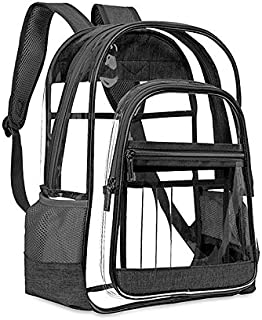 Asdomo Clear Backpacks, Heavy Duty Transparent PVC Bookbag Adjustable Straps