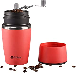 Portable Small Travel Coffee Maker And Coffee Grinder Mug Brewer By MOYEAH For Camping Office Outdoor (Red)