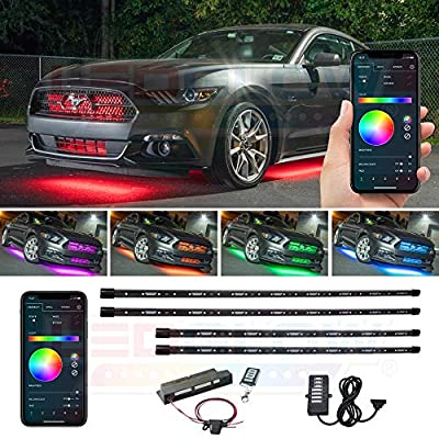 LEDGlow 4pc Bluetooth Million Color LED Underbody Underglow Accent Lighting Kit for Cars - Smartphone App - Courtesy Lights - Create Any Color - Water Resistant Tubes - Control Box & Wireless Remotes