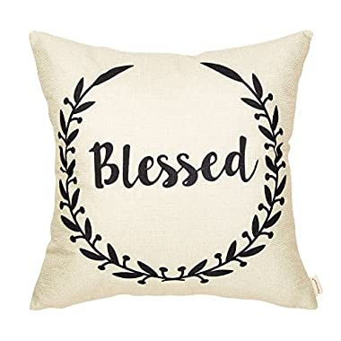 Fahrendom Rustic Blessed Olive Branch Vine Wreath Vintage Country Style Retro Farmhouse Quote Gift Cotton Linen Home Decorative Throw Pillow Case Cushion Cover with Words for Sofa Couch 18 x 18 Inch