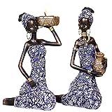 H HILABEE Exquisita exótica Africana Femenina Tribal Lady Estatua Escultura Ornamento para la Oficin...