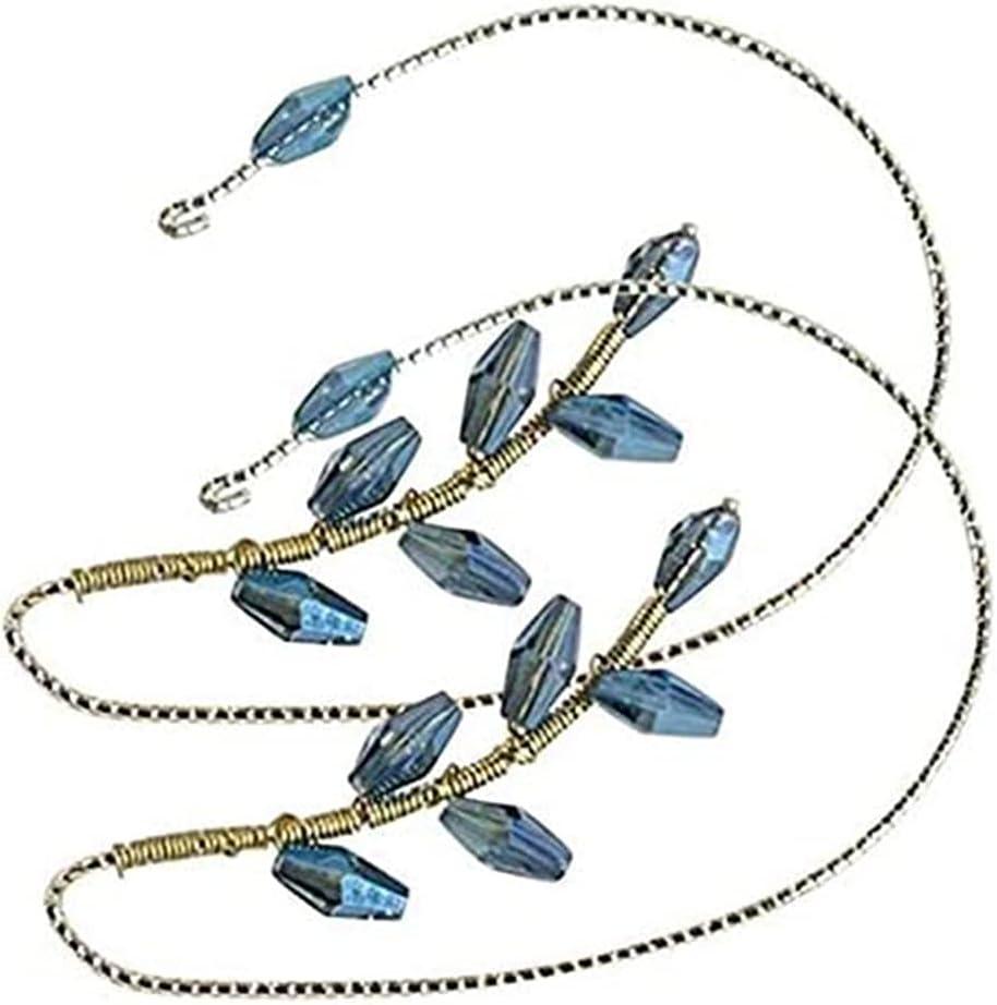 1Pair Vintage Ear Cuff Earrings wrap Around,Women Fashion Beading Ear Hook,Ear Wrap Crawler Hook Earrings Wire Wrapping Beaded (Blue Ear Hook)