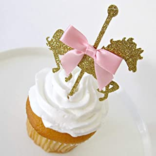 24PCS Carousel Toppers - Horse Cupcake Toppers - Carousel First Birthday - Horse Birthday Decor - Carousel Baby Shower - Gold Carousel Top