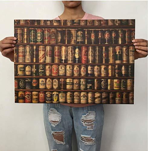 Collezione Di Lattine Di Birra Retrò Nostalgico Carta Kraft Poster Bar Cafe Dormitorio Adesivi Murali Nucleo Decorativo Pittura