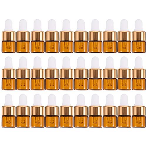 Minkissy 30 Unidades 1Ml Botella Cuentagotas Botellas de Vidrio Ámbar Botellas de Aceite Esencial Dispensador Botellas de Tintura Vacías Contenedores Recargables con Pipeta para Perfume