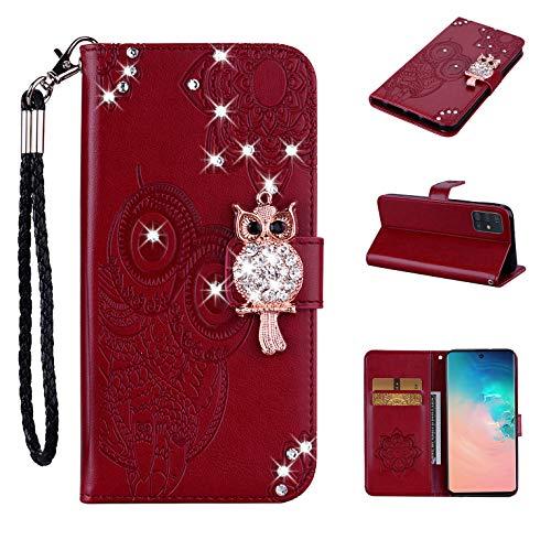 Lederhülle kompatibel mit Samsung Galaxy A21s Hülle Glitzer Diamant Bling Eule Braun Handyhülle Handy Tasche Flip Hülle Cover Schutzhülle mit Kartenfach für Mädchen Frauen