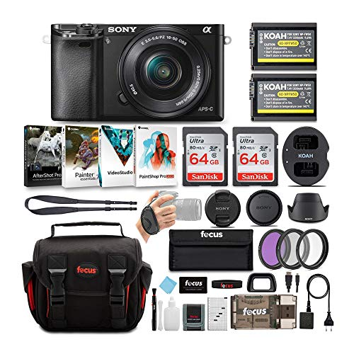 Sony Alpha a6000 24.3MP Mirrorless Digital Camera with 16-50 mm Lens (Black) and Two 64GB SD Card Bundle (8 Items)