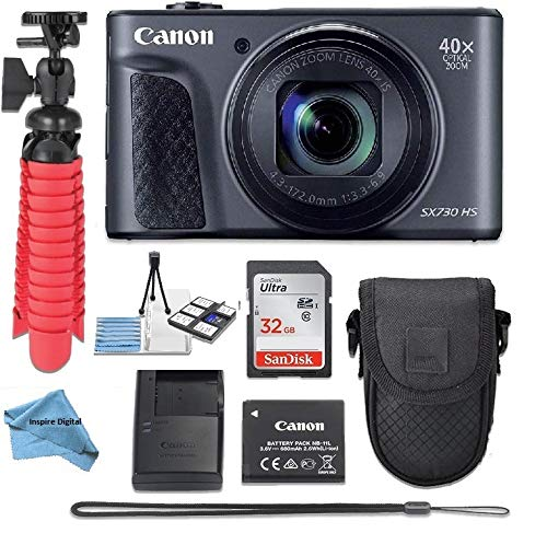 Canon Powershot SX730 Point & Shoot Digital Camera + Accessory Bundle + Inspire Digital Cloth