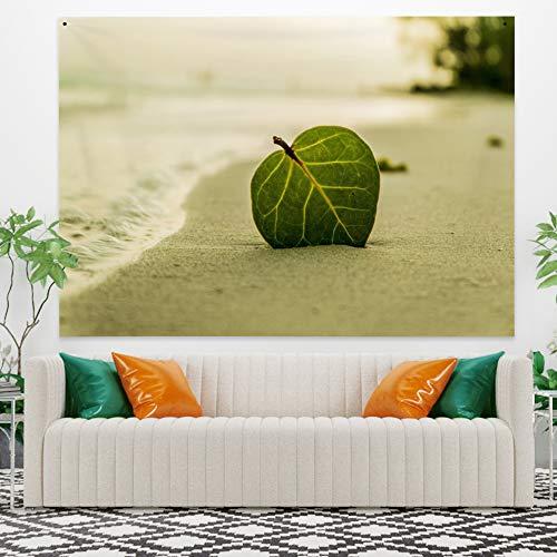 Miueapera 34x28 inch groen blad tapijt polyester aan zee landschap strand bomen muur opknoping woonaccessoires voor wand decor plafond cover venster gordijn scheidingswand cadeau voor familie