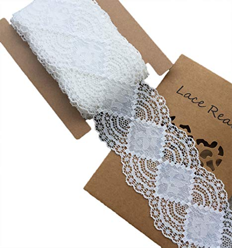 LaceRealm 3 Inch Wide×10 Yards Stretch Floral Pattern Lace Ribbon Trim Lace for Headbands Garters & Crafts 5508 (White)