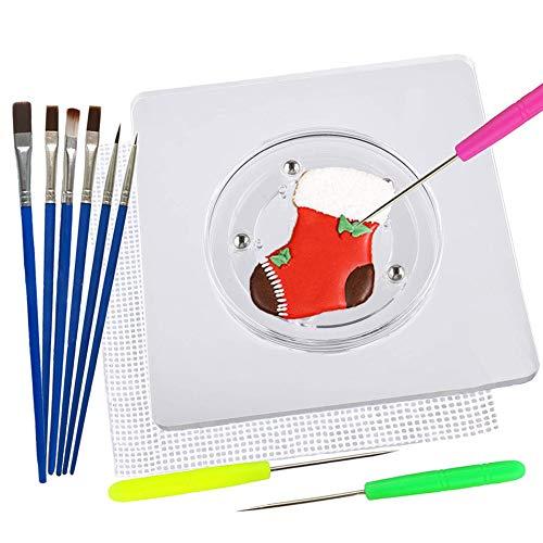 Shxmlf Kekszubehör, Set mit quadratischem Acryl-Plattenspieler mit Anti-Rutsch-Silikon-Matte, Dekorationsnadeln, Keks-Pinsel, tolle Keks-Werkzeuge für Dekoration.