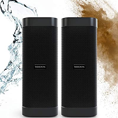 DOCKIN D MATE 2x25 Watt Outdoor Optimised Bluetooth Speaker Bundle, 16h Battery Life, Portable with Built-in Powerbank, Bass Boost Mode, Water Resistant IPX6, Stereo Pairing, Engineered in Germany by Dockin