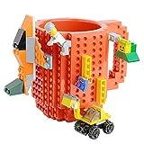 Tmango Upgraded Build-on Bricks Mug with a Pack of Blocks, Creative DIY Building Blocks Coffee Mug, Puzzle Cup for Kids, Men or Women Xmas Birthday Gift (Red)