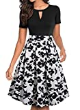 YATHON Women's Vintage Floral Flared A-Line Swing Casual Party Dresses with Pockets (XL, YT018-Black White Flo)