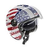 Guardian 0321 Casco da Moto Jet - Doppia visiera. Visiera 'Occhiale' interno extra fumè a scomparsa. Cinturino a sgancio rapido - Flag USA, Taglia L