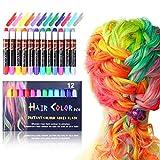 Thinkcase Haarkreide,12 Farben Temporäre Haarkreide Set Auswaschbare und ungiftige Haarstifte...