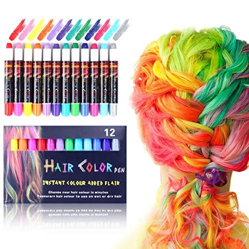 Thinkcase Haarkreide,12 Farben Temporäre Haarkreide Set Auswaschbare und ungiftige Haarstifte Haarfarbe für Kinder und Teenager Geeignet für Karneval, Party, Weihnachten Halloween Geburtstag