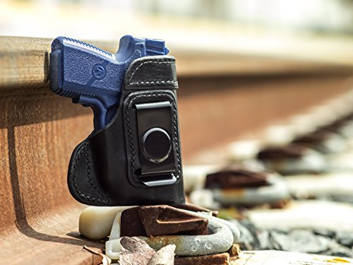 OutBags USA LS3PM9X (Black-Right) Full Grain Heavy Leather IWB Conceal Carry Gun Holster for Kahr PM9 9mm with Crimson Trace Laser. Handcrafted in USA.