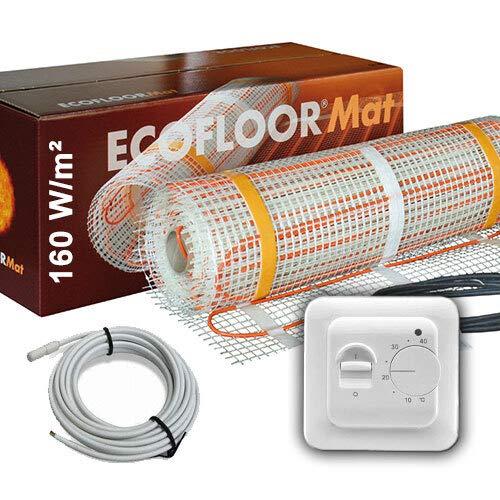 1280 Watt PREMIUM Fußbodenheizung elektrisch Fliese Bad Heizmatte Thermostat 8 m²