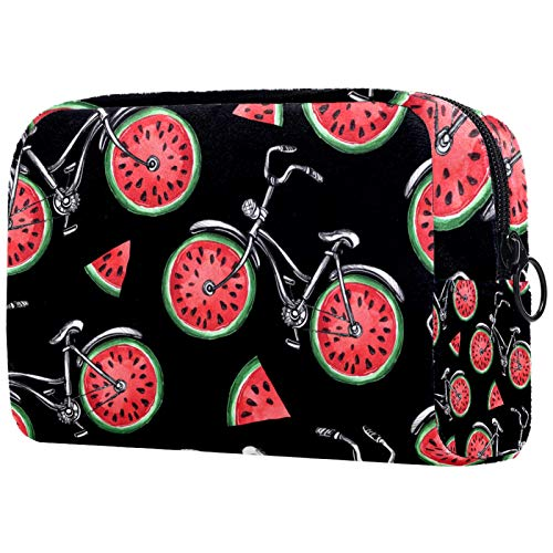 Cosmetic Bag Womens Waterproof Makeup Bag for Travel to Carry Cosmetics Change Keys etc Bicycles with Watermelon Wheels