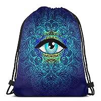 神聖な幾何学のシンボル、すべての目には酸性の色。ミスティック、錬金術、オカルトのコンセプト。インディーズ音楽カバーパッカブルスポーツジムドローストリングサックパックバックパックバッグのデザイン男性、女性17×14インチ