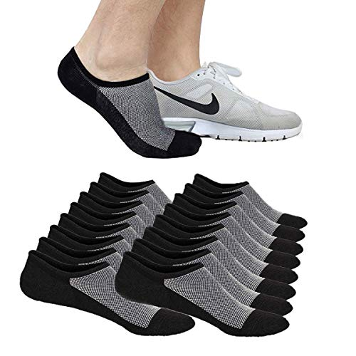 No Show Socks Ankle Low Cut Socks for Mens or Womens, Non Slip, 8 Pairs (8 Pairs (Black), L/XL(US Men Shoes Size 10-14))