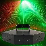 sahadsbv Iluminación de Flash de Discoteca Luz estroboscópica RGB de 6 Orificios Lámpara de proyección de Escenario Control de Voz para Barras de Bola de Fiesta Proyector