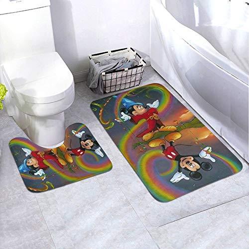 SUZZC Rainbow Magic Mickey Mouse Bathroom Mat Sets 2 Piece Bathroom Contour Rug Toilet Mat Sets Soft and Comfortable Machine Washable for Bathroom Floor Bathtub Shower