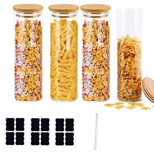 Annfly 4 tarros de vidrio con tapas de bambú de silicona para almacenamiento de recipientes de cocina, juego de botes para mermelada, espagueti, té, granos de café (diámetro: 8,5 cm, 1000 ml)