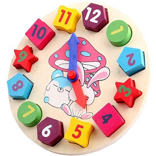 Kind Puzzle Formen Uhr Kind Puzzle Uhr Kind Bunten Puzzle Uhr Lernuhr aus Holz mit 12 Steck-Formen Sortierung - Anzahl Blöcke Puzzle Stapeln Frühes Pädagogisches Geschenk für Kinder