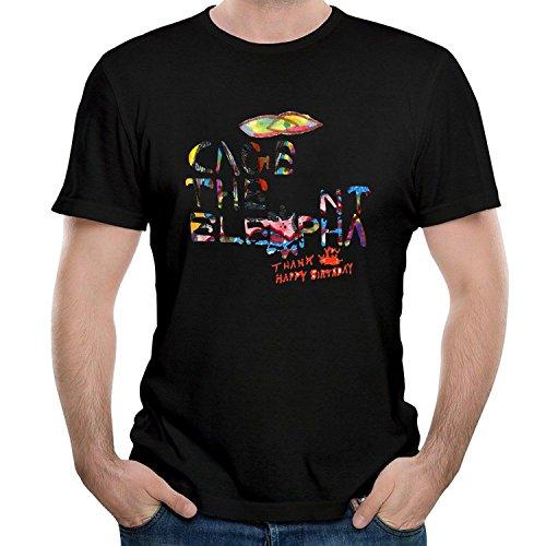 BOguan Mens T-Shirts cage seveb The Seven Elephant Thank You Happy Birthday Short Sleeve Tees Large Black
