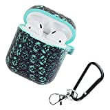 ACHICOO Camouflage Silicone Shockproof Protector Cover Case Carabiner for Air-Pods Case i10 i12 TWS Blue-Tooth Luminous Protector Water Duck Black Diamond Electronic Phone for Travel/Work