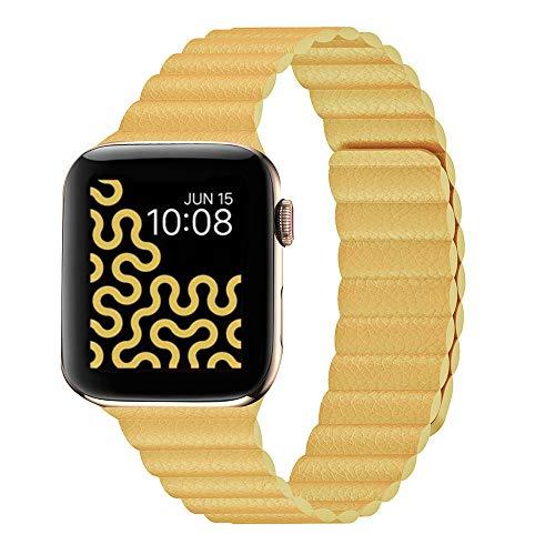 Compatible con Apple Watch Band 44 mm, 42 mm, 40 mm, 38 mm, correa de piel ajustable mejorada con sistema de cierre magnético para iWatch Series 5/4/3/2/1, 40MM/38MM, Pineapple