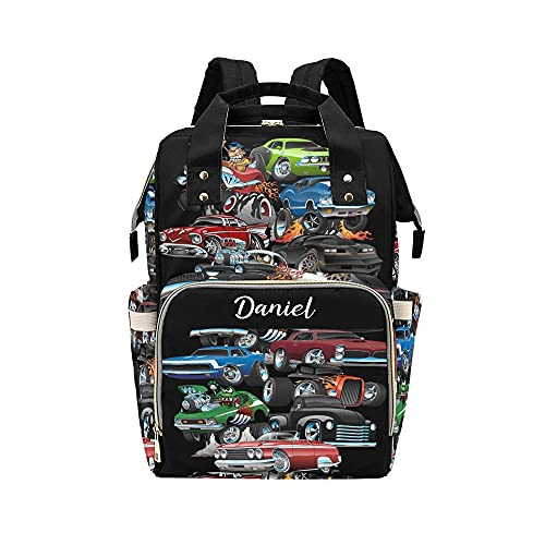Personalized Muscle Cars and Hot Rods Diaper Backpack with Name Text Large Capacity Custom Multi-Function Bag Unisex Travel Backpack for Mom Dad Boy Girl